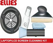 Ellies Professional Laptop and LCD Screen Cleaning Kit –Includes Triangular design Flat screen cleaner , Soft Ultra-Fine Microfiber cloth , Antistatic brush , Cleaning fluid Solution Spray , Retail Box, No warranty  Product OverviewThe Ell