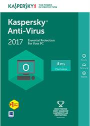 Kaspersky Anti-Virus 2017-3 User DVD (KL1171QXDFSENG), Retail Packaging, No Warranty on Software Product Overview: Kaspersky Anti-Virus 2017-3 User DVD (KL1171QXDFSENG) - Think of all the precious things on your PC. We can help you protect